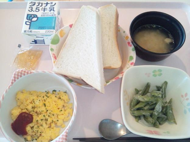 9月18日朝食(スクランブルエッグ) #病院食