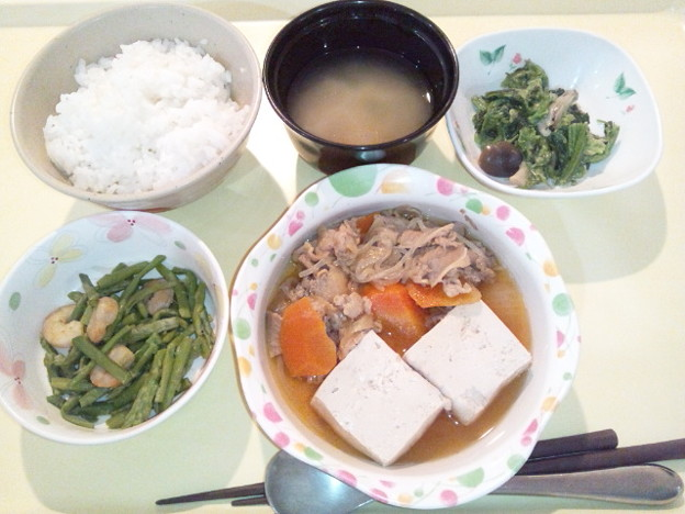 9月20日夕食(牛肉と玉葱のすき煮) #病院食
