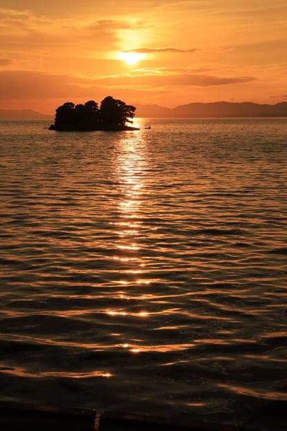 夕日に染まる宍道湖