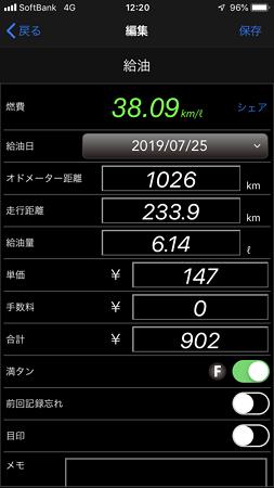 燃費38km/l