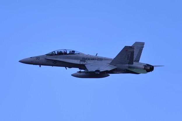 岩国の米海兵隊VMFA-533hawks ED00 F/A-18Dホーネット 厚木基地よりいい上がり・・20150117