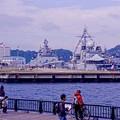 ヴェルニー公園の昼下がり。。インド海軍とフランス海軍の艦船眺める。。10月17日