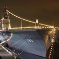 横浜大さん橋からの護衛艦いずものライトアップ。。観艦式前日10月17日