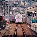1日1往復の新大阪から戻りこだま博多行き エヴァ仕様500系登場。。20151121