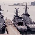 海上自衛隊横須賀基地。。吉倉桟橋に停泊中の護衛艦たかなみ、むらさめ、きりしま。。20160320