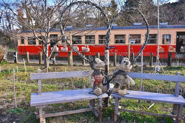 小湊鉄道月崎駅に列車をミッキー見送る。。20171210