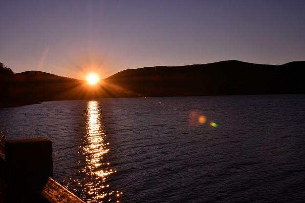 正月の朝焼け。。山中湖湖畔 20180102