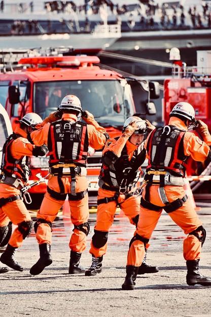 横浜消防出初式。。横浜守るスーパーレンジャー 20180107