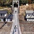 写真: 結構揺れる。。大井川にかかる吊り橋 大井川鐵道塩郷駅 20180120