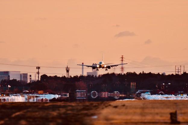 夕暮れの厚木基地。。クリッパー輸送機C-40 アプローチ 20180125