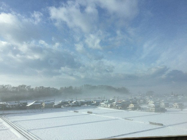 朝靄の長野の雪景色。。北陸新幹線の車窓から 20180203