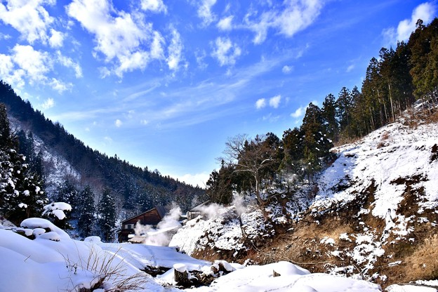 雪止んで青空出てきた地獄谷温泉野猿公苑 20180203
