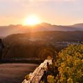 夕焼けの吾妻山公園から見る風景。。西陽が菜の花浴びて 20180204