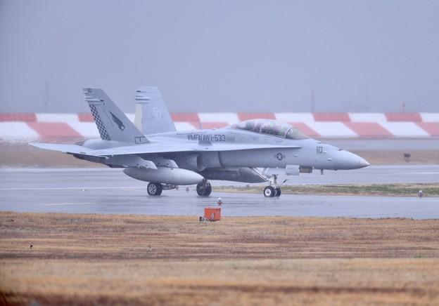 雨降りの岩国基地。。この日来日して初飛びの米海兵隊VMFA533ホークス(1)20180321