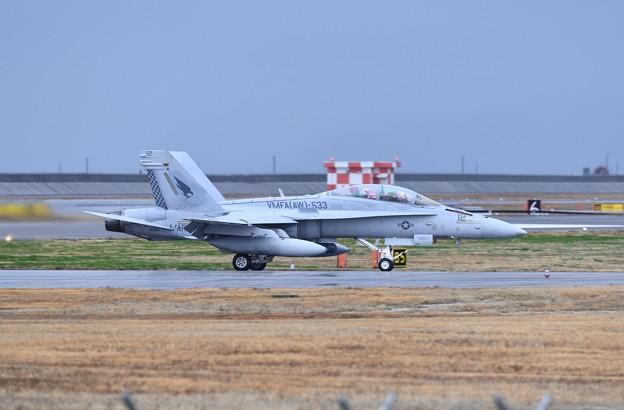 雨降りの岩国基地。。この日来日して初飛びの米海兵隊VMFA533ホークス(3)20180321