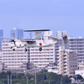 Photos: 撮って出し。。那覇の町横切る空自早期警戒機E-2C アプローチ 6月17日