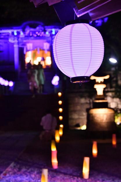 写真: 撮って出し。。長谷灯り 御霊神社ライトアップ 8月26日