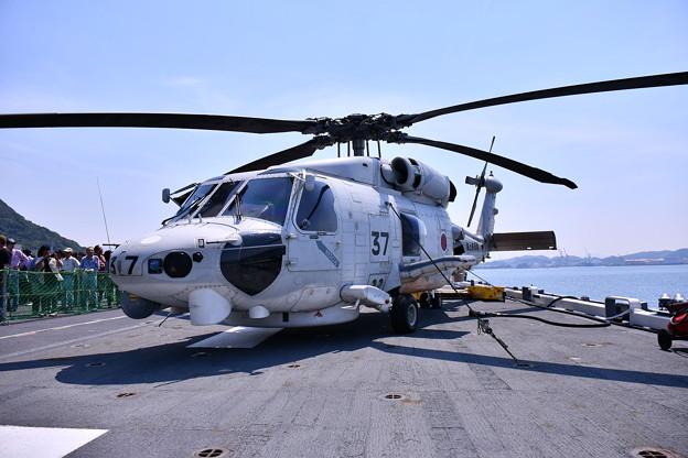 門司港での一般公開された護衛艦ひゅうが デッキにSH-60Kシーホーク 20180602