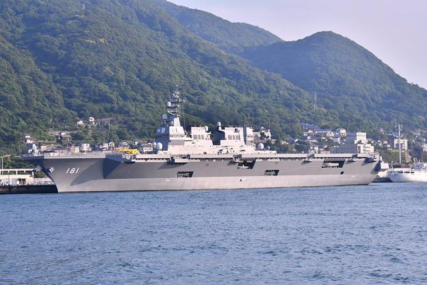 関門海峡の海から門司港停泊中護衛艦ひゅうが(3) 20180602