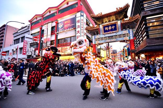 撮って出し。。横浜中華街 パレード祝舞遊行 中国獅子舞 20190216