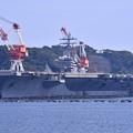 9月の撮って出し。。横須賀軍港めぐりから久々見た原子力空母ロナルドレーガン 出港間近? 20190901