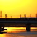 新幹線が走る朝景色