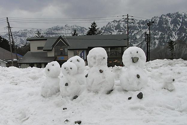 雪ダルマ家族