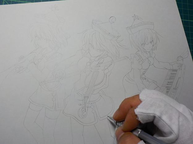 プリズムリバー三姉妹(下描き)