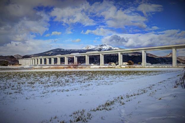 ある意味、高速道路の橋としては日本最長の橋と有珠山