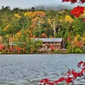 静かな湖畔の秋景色