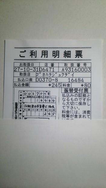 東日本盲導犬協会に寄付した明細書(2015/10/31)
