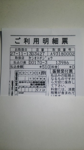 日本キリスト教海外医療協力会(JOCS)の海外保健医療協力募金に寄付した明細書