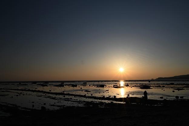 写真: 夕景を撮る女