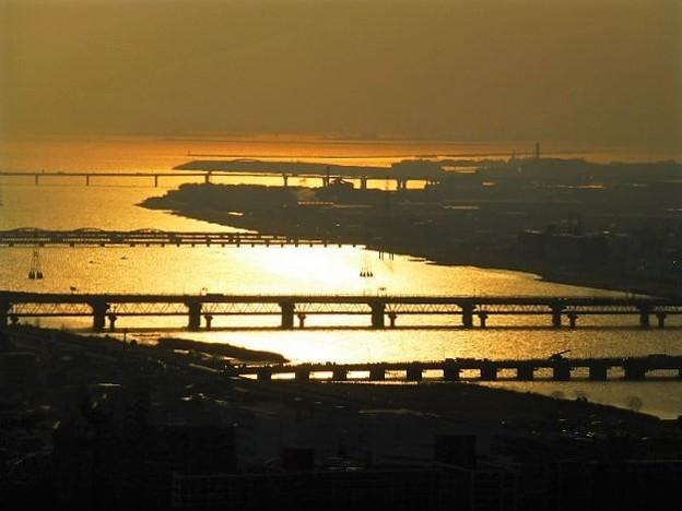 大阪湾岸エリアの夕焼け