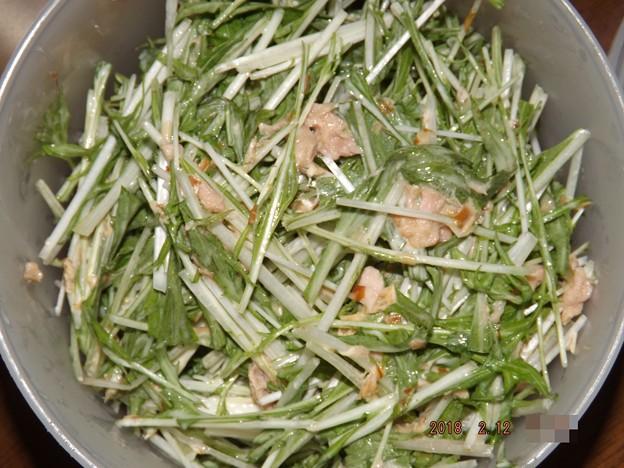 2018/02/12(月・祝)・水菜とツナの醤油マヨ和え