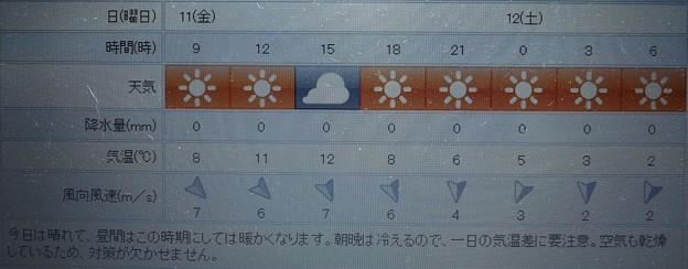 2019/01/11(金)・東京の天気予報