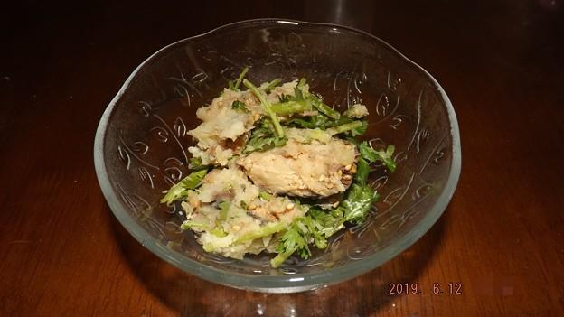 2019/06/12(水)・さばみそ煮缶と香菜のポテトサラダ