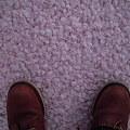 写真: もも色絨毯の上で・・・