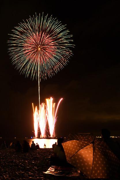 写真: 花火と傘