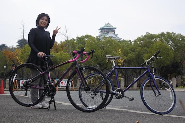 自転車で大阪城へ到着!
