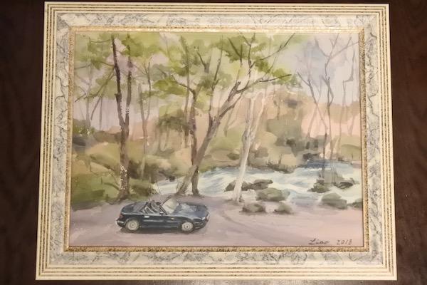 家内の親戚に描いていただいた奥入瀬渓流とVR-B