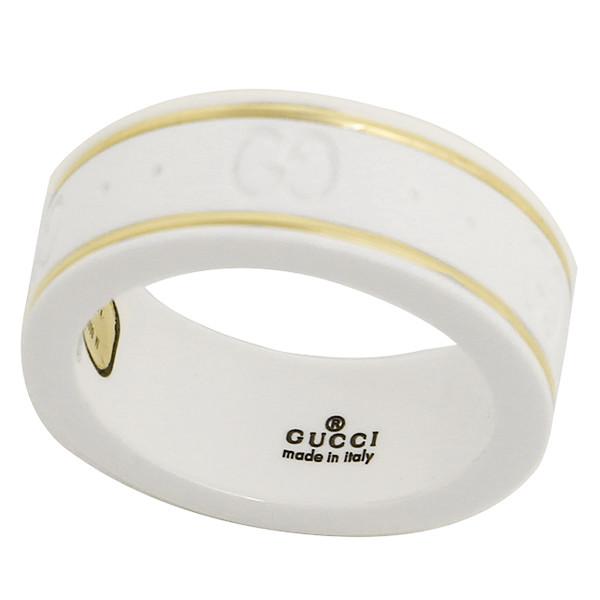 グッチ GUCCI リング 指輪 セラミック ホワイト Gマーク アクセサリー GGリング レディース メンズ ベアルック 白