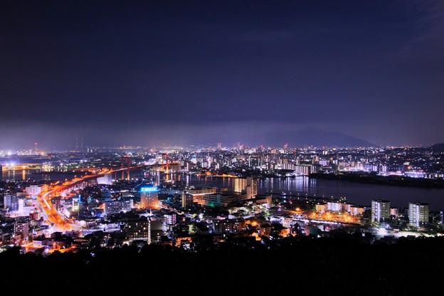 俯瞰で見る夜の街並み