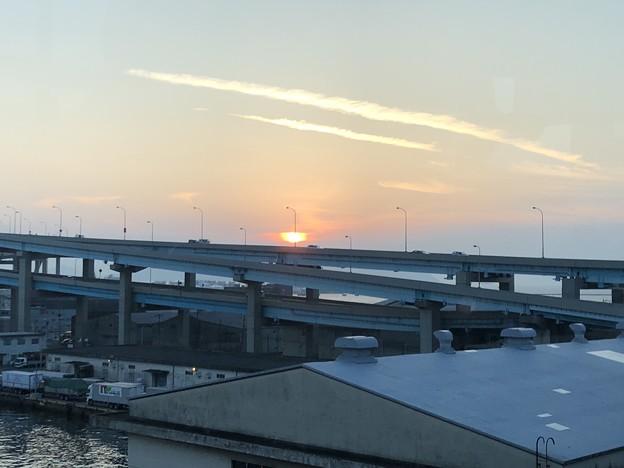 2018.8.6 都市高速道路から見る夕日up