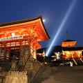 写真: 清水寺のライトアップ