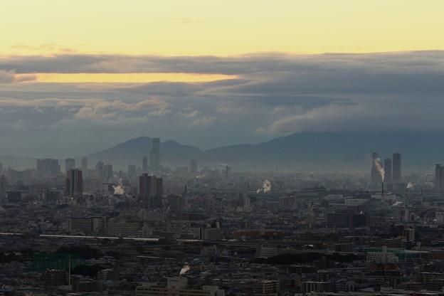 大阪の街の朝景