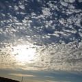 遅い朝陽とウロコ雲(2)