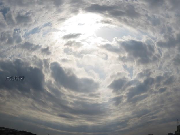 Photos: 魚眼レンズで見た朝の空から太陽と光芒♪