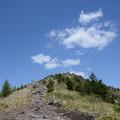 烏帽子岳を見上げる