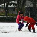 雪遊びきょうだい